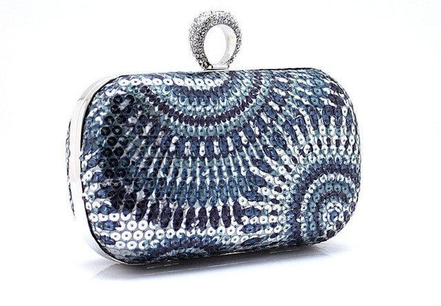 Knuckle Ring Clutch Evening Bag, Silver/Blue