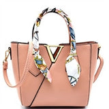 Gold & Scarf Accented Handbag Tote, Light Pink