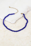 Glass & Beaded Choker, Royal Blue