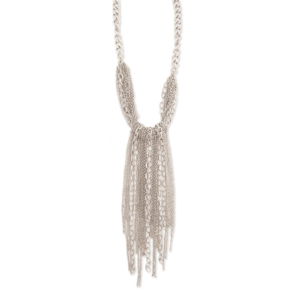 Silver Chain Cluster Drop Necklace