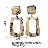 Snake Skin Geometric Drop Earrings, Tan