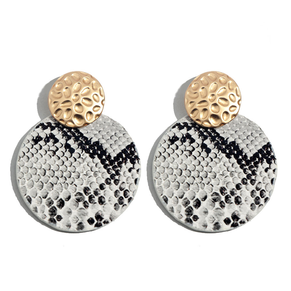 Snake Skin Circle Earrings, White
