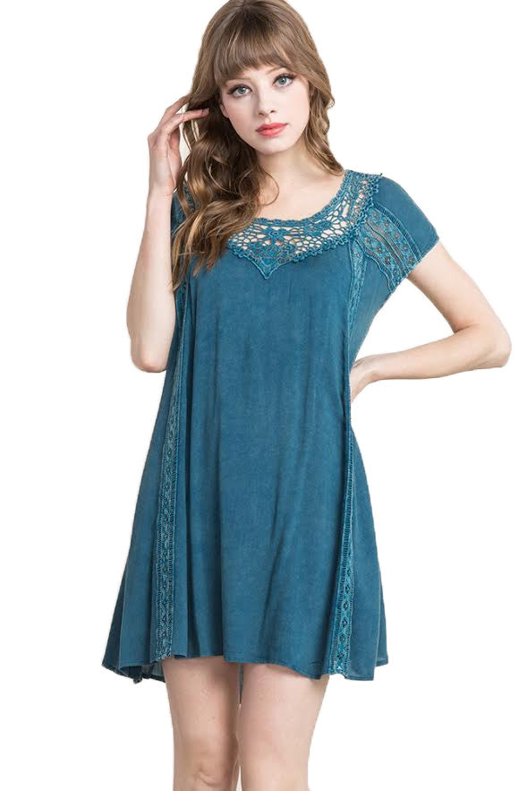 Snow-Wash Lace Trimmed Dress, Teal