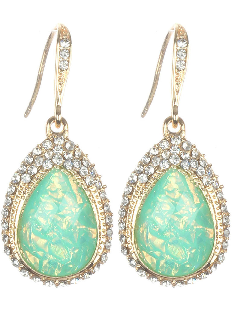 Beautiful Teardrop Shimmer Stone Earrings