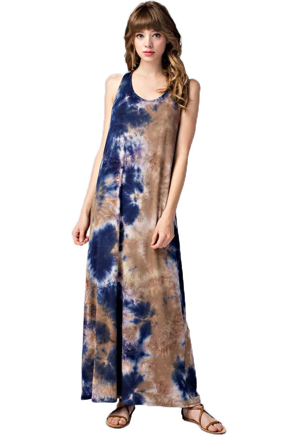 Tie Dye Sleeveless Maxi Dress, Navy