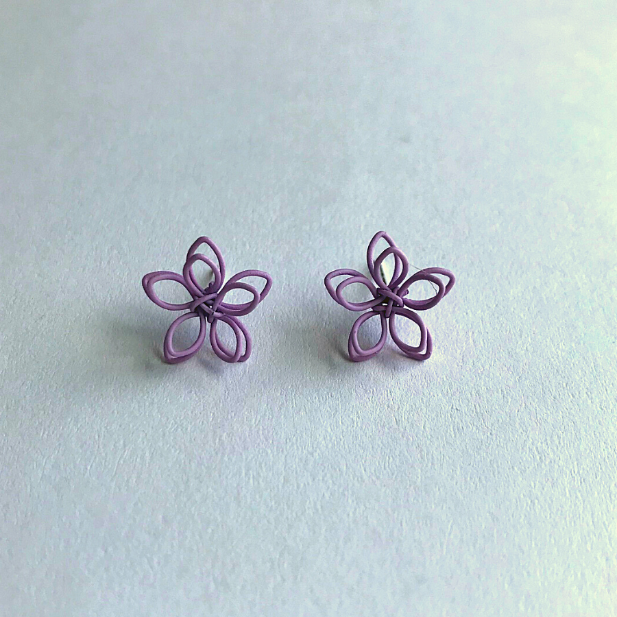 Colorful Wire Sculpted Flower Earrings, Purple