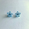 Colorful Wire Sculpted Flower Earrings, Blue