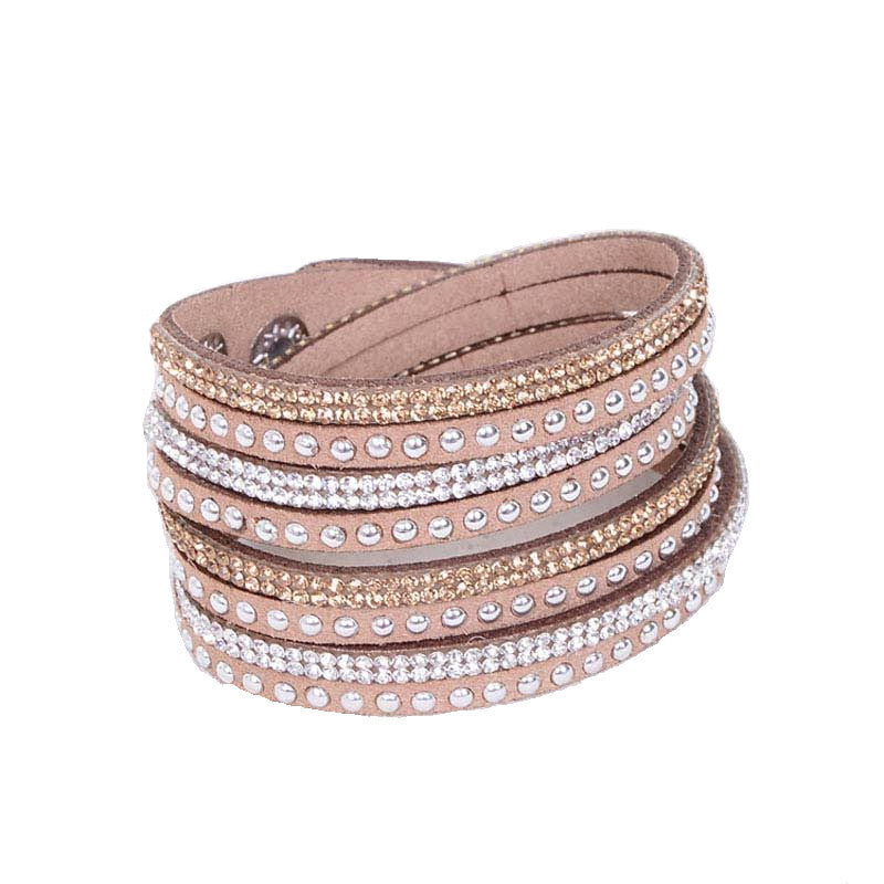 Leather Layered Crystal Rhinestone Bracelet, Tan