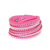 Leather Layered Crystal Rhinestone Bracelet, Hot Pink