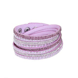 Leather Layered Crystal Rhinestone Bracelet, Lilac