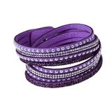 Leather Layered Crystal Rhinestone Bracelet, Purple