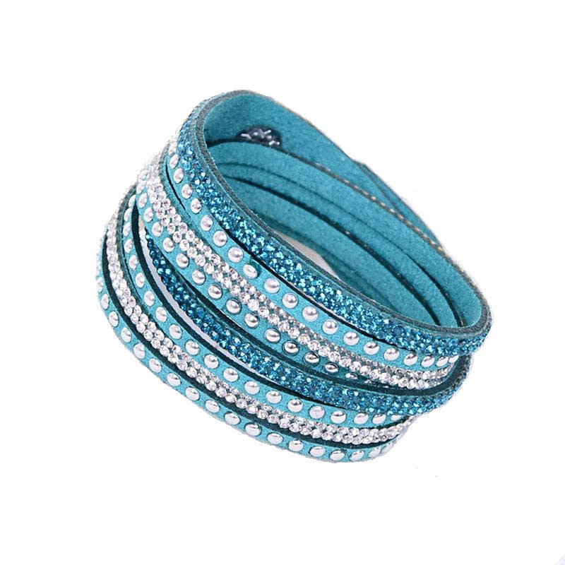 Leather Layered Crystal Rhinestone Bracelet, Teal