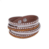 Leather Layered Crystal Rhinestone Bracelet, Brown