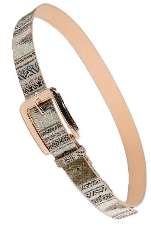 Half Square Buckle Patterned Belt, Beige