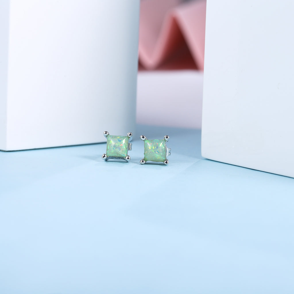 Sparkling Square Stud Earrings, Lime Green