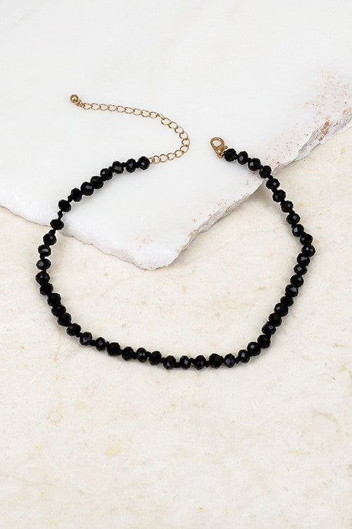 Glass & Beaded Choker, Black