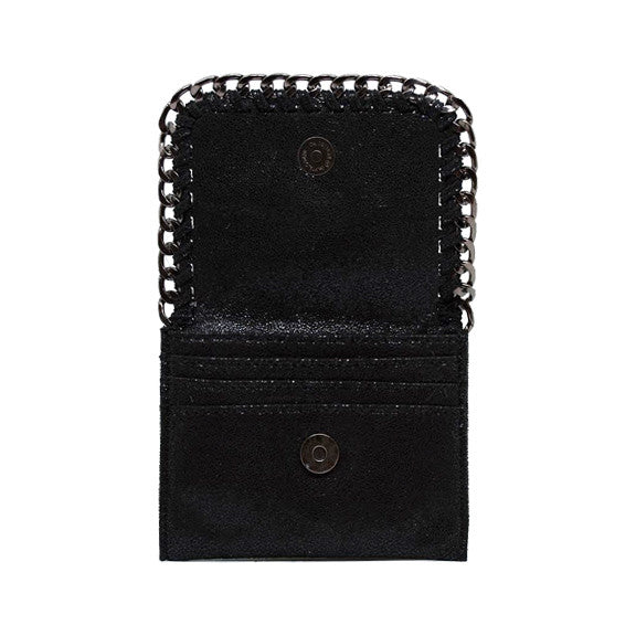 Designer Inspired Wallet With Chain Detail, Black