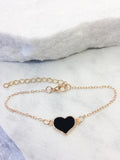 Delicate Gold Heart Bracelet, Black