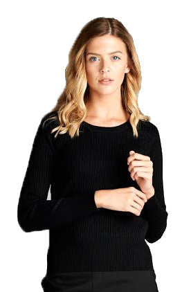 Crew Neck Cable Knit Sweater, Black