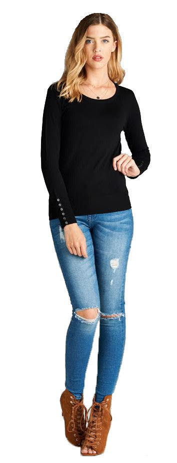 Crew Neck Sweater With Sleeve Buttons, Black