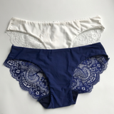 Set of 2 Lacy Low-Rise Panties, Navy & White
