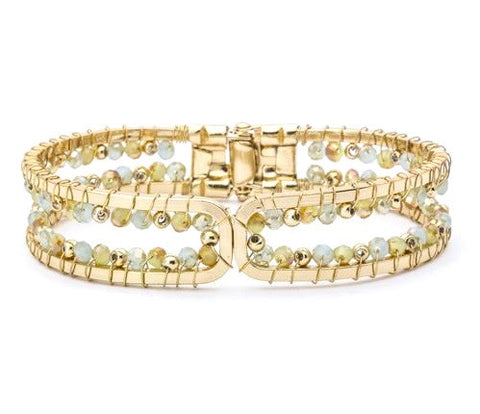Gold Lucite Bead Stretch Bracelet