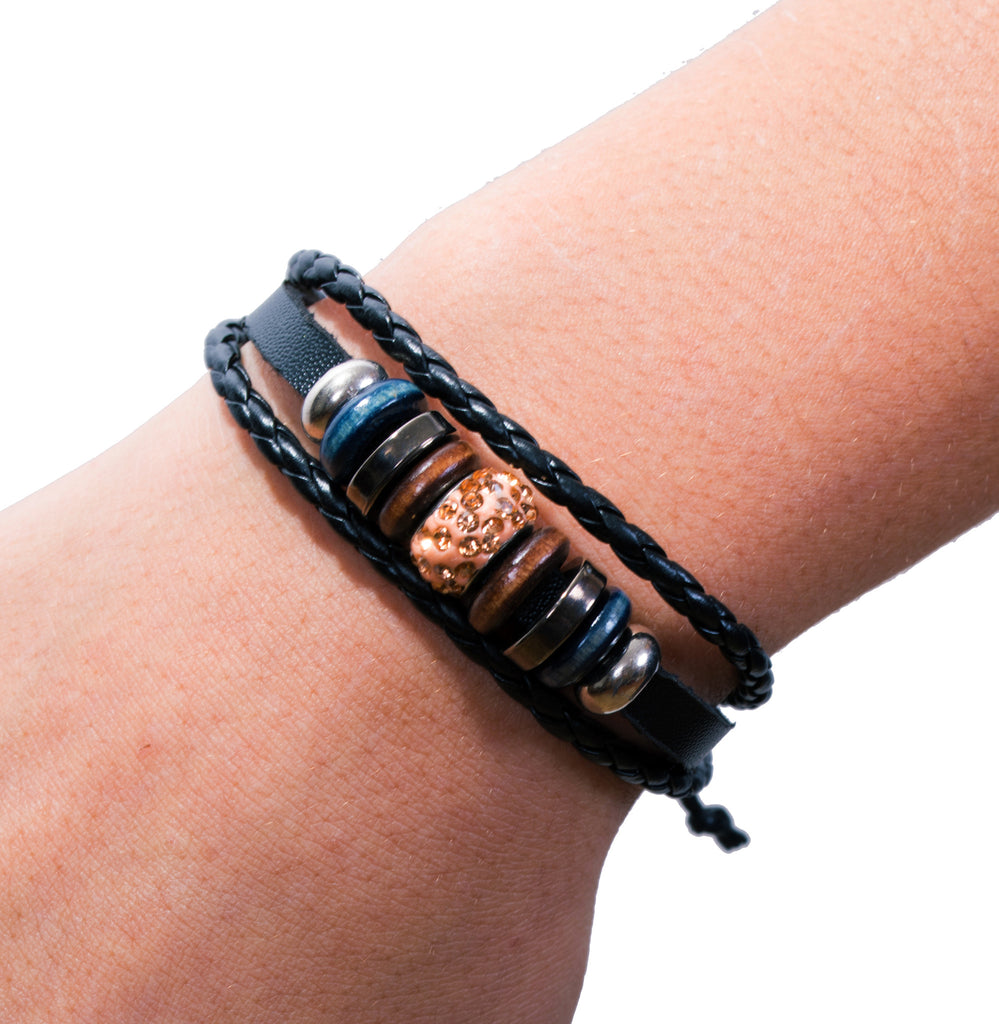 Mix Hoops Braided Leather Cuff, Peach