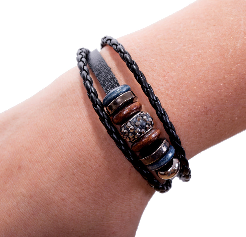 Mix Hoops Braided Leather Cuff, Hematite