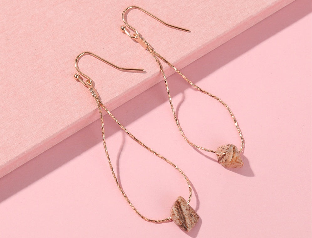 Snake Chain Brown Stone Earrings