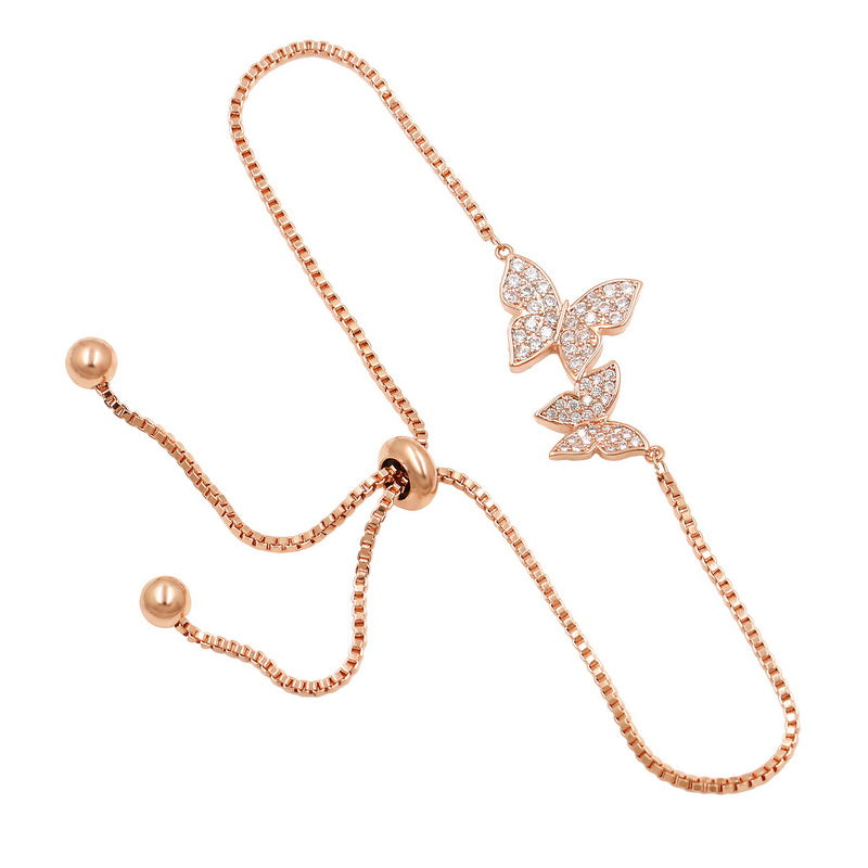 Butterfly Adjustable Bracelet, Rose Gold