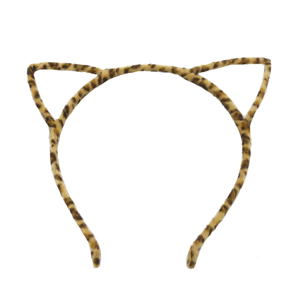 Fuzzy Cute Cat Headband, Leopard