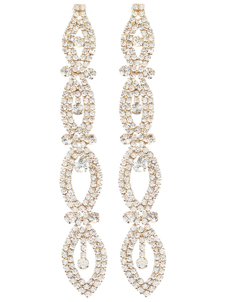 Layered Ovals Chandelier Earrings, Gold