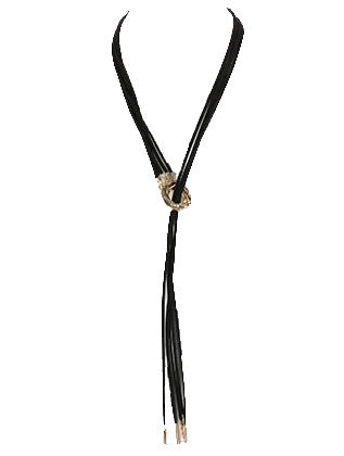 Metal Ring Pendant Faux Leather Bib Necklace