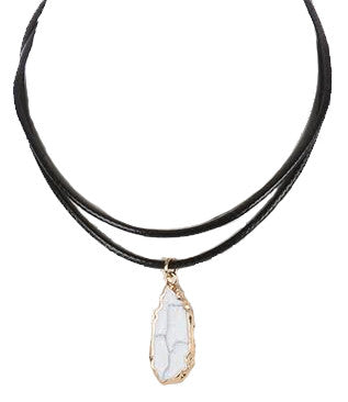 Natural Stone Charm Choker Necklace, White