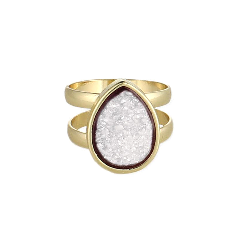 Teardrop Druzy Gold Ring, White