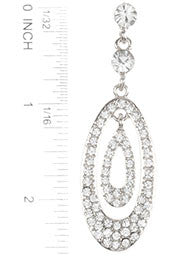 Pave Crystal Double Oval Earrings, Silver