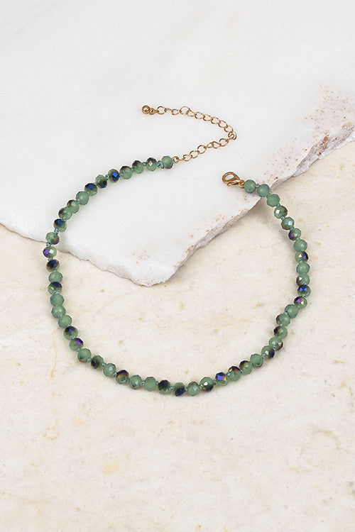 Glass & Beaded Choker, Dusty Green