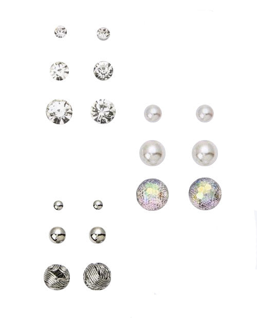 Mix Crystal & Pearl Stud Set, Rhodium