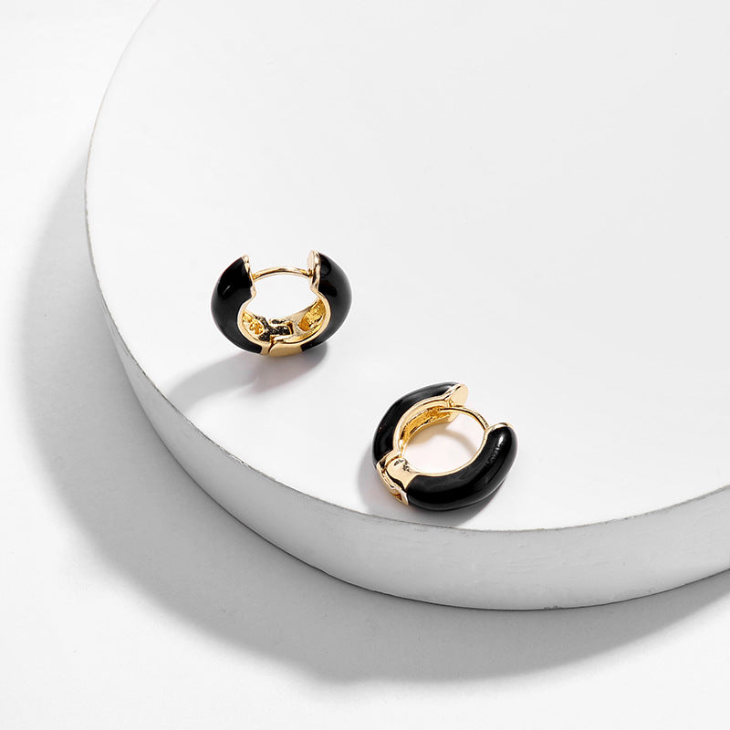 Small Hoop Enamel Earrings, Black