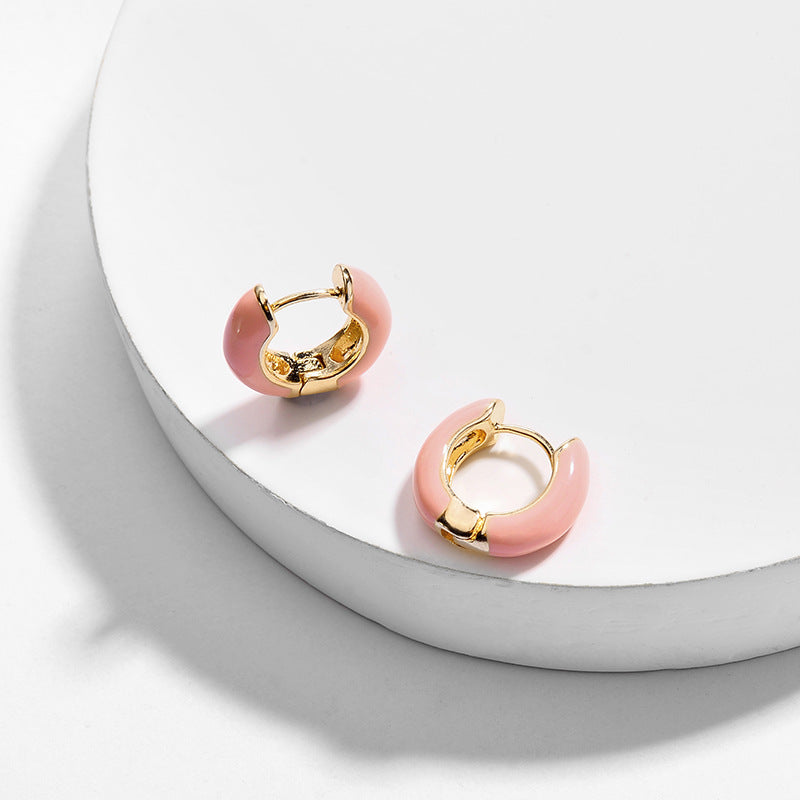 Small Hoop Enamel Earrings, Pink