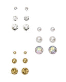 Mix Crystal & Pearl Stud Set, Gold
