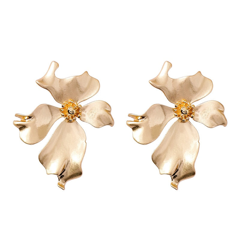 Beautiful Bold Flower Earrings, Gold