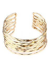 Hammered Layered Gold Cuff Bracelet