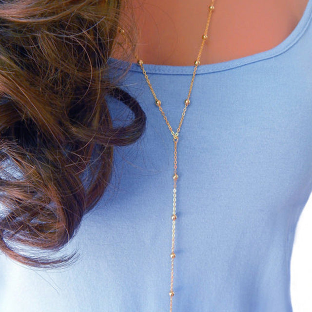 Gold Chain Beaded Lariat Necklace