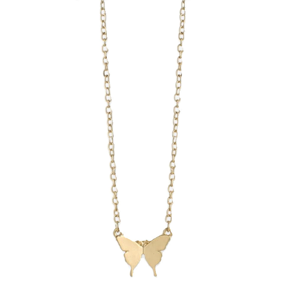 Butterfly Matte Metal Necklace, Gold