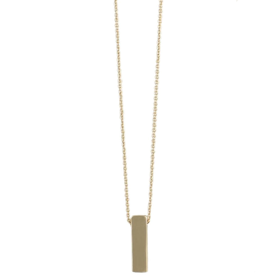 Small Bar Pendant Necklace, Gold