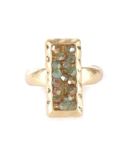 Iridescent Glass Bead Hammered Metal Stretch Ring, Green