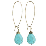 Oversized Earwire Turquoise Bead Earrings, Gold