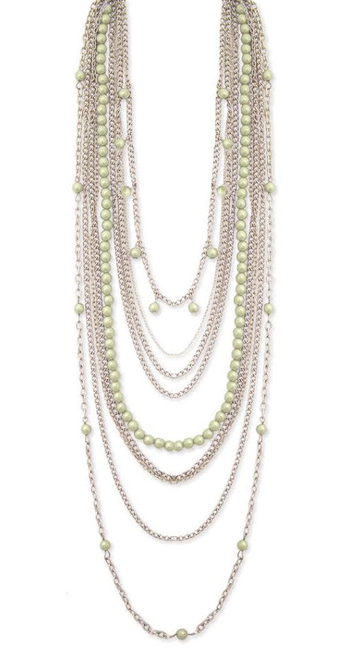 Nine Line Faux Pearl Necklace, Green