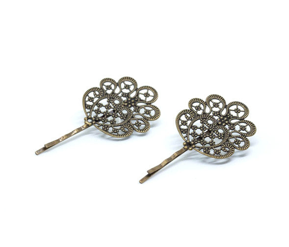 Vintage Gold Hairpin Set, Scroll